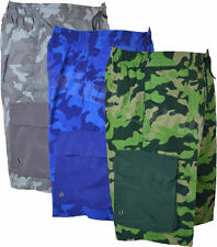 S27 Mens Cargo Camouflage Swim Camo Shorts Beach Print Summer Mesh Lined