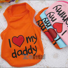 I Love Mommy/Daddy Pet Dog Cat Apparel Vest Coat Puppy Clothes T-shirt Summer