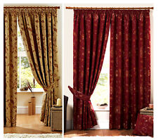 Luxury Heavy Weight Jacquard Curtains Pencil Pleat Lined Ready Made Curtain