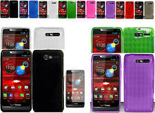 Any Flexible TPU Gel Cover Case+Free SP For Motorola Droid RAZR M XT907 Phone