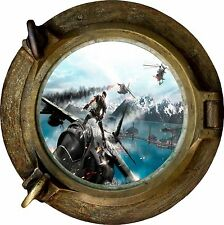 Huge 3D Porthole Fantasy Army Fighter View Wall Stickers Film Art Decal Wallpape