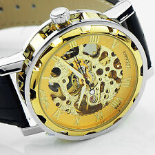 VINTAGE COOL Skeleton Men's Automatic Mechanical Wrist watch Leather Clock Dial