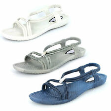 Ladies spot-on jelly sandals with Metal detail Badge F0752
