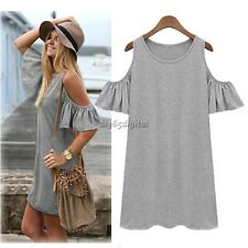 Women Butterfly Sleeve Strap off Shoulder Loose Vest dress T shirt Casual 35DI