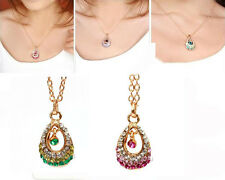 1pcs Crystal Rhinestone Water Drop Pendant Chain Necklace