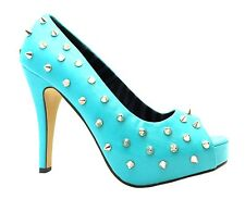 Abbey Dawn Wth Platform Women's Turquoise Blue High Heel Metal Spiked Shoes New