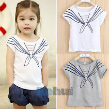 Girls Kids Baby Tops T Shirts Tie Print Navy Style Short Sleeve Costume 1-5Y