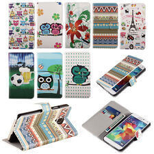 New Leather Flip Stand Credit Card Slot Wallet Pouch Flower Skin Hard Case Cover