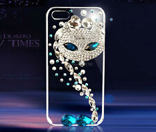 New Bling Blue Fox Diamond Clear Crystals Hard Case For iphone Samsung note 3