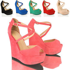 WOMENS LADIES HIGH WEDGE HEEL PLATFORM SUEDE BUCKLE PEEP TOE SANDALS SHOES SIZE