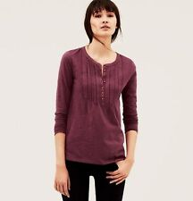 NWT ANN TAYLOR LOFT Winter Rose Charming Pintucked Eyelet Henley Tee Shirt $39