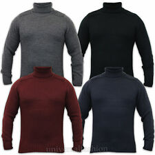 Mens Polo Neck Jumper Knitted Ribbed Sweater Kensington Eastside Roll Up Winter