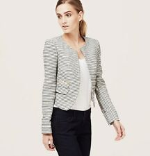 NWT ANN TAYLOR LOFT Black Discreetly ChicTextured Stripe Open Front Jacket $98