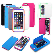 Credit Card Hard Holder Hybrid Stand Case Cover For Apple iPhone 6/5S/5C/5/4S/4