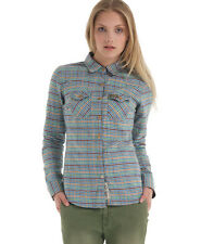 New Womens Superdry Country Flannel Shirt Chestnut Tweed Blue SW