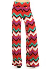 Summer Multi-Color Chevron Wide Leg Fold Over High Waist Palazzo Lounge Pants