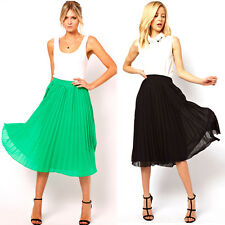Wome's Summer Candy Color Pleated Chiffon Below Knee Mid-Calf Skirt Casual Dress