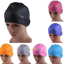 Flexible Adult Swimming Cap Waterproof Silicon Waterdrop Cover Multicolor  LS4G