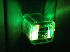 LED LIGHT FLASH 2 AMP DUAL WALL/HOME USB A/C power charger for iphone 6 4s 5 3g
