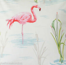 Flamingo Fabric Material Printed Cotton Pink Green White Colours Sold by Metre