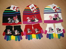 BLACK FRIDAY GIRLS MINNIE MOUSE HAT AND GLOVES SET DISNEY PINK RED 2-4 6-8 YEARS