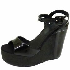 LADIES BLACK PEEP-TOE WEDGE PLATFORM SUMMER STRAPPY SANDALS SHOES SIZES 3-8