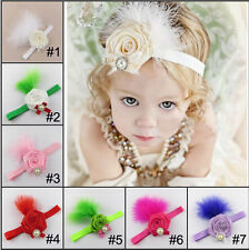 Lucky Kids Baby Girls' Infant Toddlers Flower&Feather  Headband Hair Bow Band