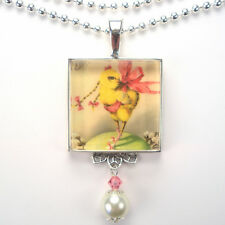 "EASTER DIVA CHICKEN CHICK PIG TAILS ""VINTAGE CHARM"" ART PENDANT NECKLACE"