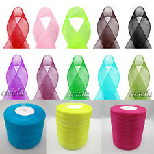 "New 50 Yards Satin Edge Sheer Organza Ribbon Bow Craft 13 Colors 3/8"" 9mm"