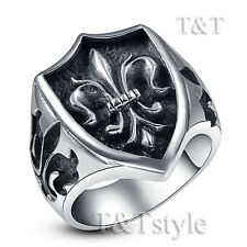 High Quality TT 316L Stainless Steel Fleur De Lis Shiled Ring Size 8-13 (RZ28)