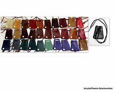 Made in USA Leather Drawstring Medicine Bag Pouch Necklace NWOT Choose Color