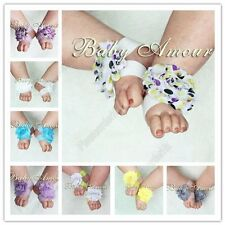 2014 Hot Baby Girls Shabby Chiffon Barefoot Rose Flower Sandals Shoes Toe Blooms