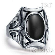 High Quality TT 316L Stainless Steel Ring With Black Oval Onyx (RZ09)