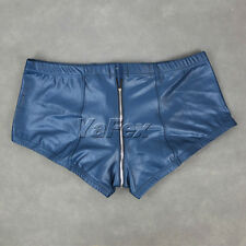 Mens Full Front to Back Zipper Decorated Faux leather Underwear Boxer Briefs JS