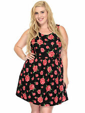 Women Plus Size All-Over Floral Print Dress w/ Flared Skirt, Made in USA
