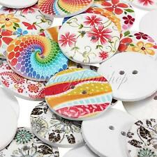 5Pcs Colorful Pattern Wood Wooden Buttons Sewing Craft Scrapbooking 25mm/30mm