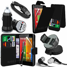 8 in 1 Bundle Kit Accessory Leather Case Car Holder Charger For Motorola Moto G