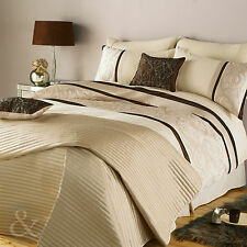 Luxury Scroll Embroidered Duvet Cover – Cream Brown & Gold Bedding Bed Set