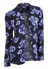New George Ladies Navy Blue Floral Rose Print Summer Edge to Edge Jacket 8-24