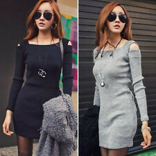 Fashion Spring Autumn Winter Women Off Shoulder Bodycon Party Sweater Knit Dress