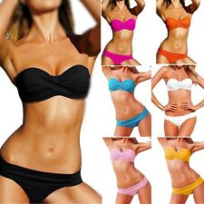 Sexy Twist Front Push UP Bra Bandeau Bikini Set Swimsuit Bathing Suit Swimwear