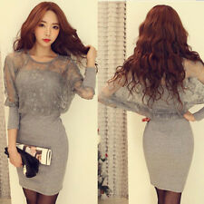 Korean Fashion Long-Sleeved Lace Dress Sexy Dress Slim Party Cocktail Dress F