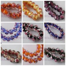 10pcs Lampwork Glass Charms Rose Flower Inside Findings Loose Spacer Beads 10mm