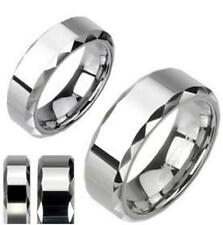 Mirror Polished Tungsten Carbide Wedding Ring Faceted Edges Band 6mm or 8mm