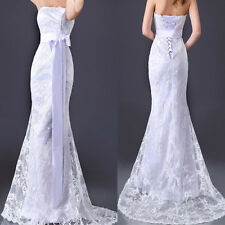CHEAP~White Lace Wedding Mermaid Dress Bridal Prom Gown Custom UK: 6 8 10 12 14