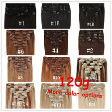 """8pcs 120g 16""""18""""20""""22""""24 Clip In 100% Real Remy Human Hair Extensions(15 Colors)"""