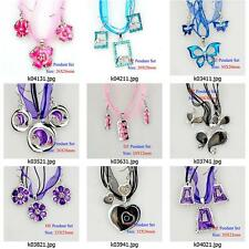 k004m50 Silver Plate Animal Flora Rhinestones Pendant Silk Necklace Earrings Set