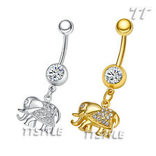 TT Crystal Elephant Dangle Belly Bar Ring Silver/Gold (BL163)
