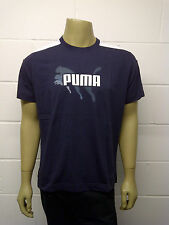 Mens Puma T-Shirt Top Navy - 3 Cat Net Print - White Trim Size M MP13