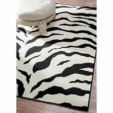 Animal Prints Black & White Contemporary Zebra Area Rug Carpet Poly-Olefin